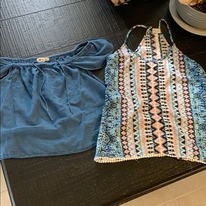 Two size small tops off the shoulder and racer
